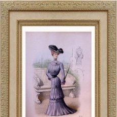 Arte: LA MODE ARTISTIQUE ORIGINAL S.XIX, G. JANET, COLOREADA A MANO, MODA ELEGANTE DE SEÑORAS, PARIS, 43X2. Lote 48655922