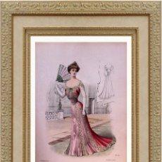 Arte: LA MODE ARTISTIQUE ORIGINAL S.XIX, G. JANET, COLOREADA A MANO, MODA ELEGANTE DE SEÑORAS, PARIS, 43X2. Lote 48655957