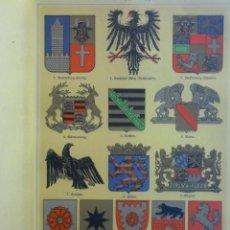 Arte: UXG ESCUDOS DE ARMAS DEL REICH ALEMANIA S. XIX ANTIGUA Y ORIGINAL CROMOLITOGRAFIA ALEMANA 1899 LITO. Lote 49118421