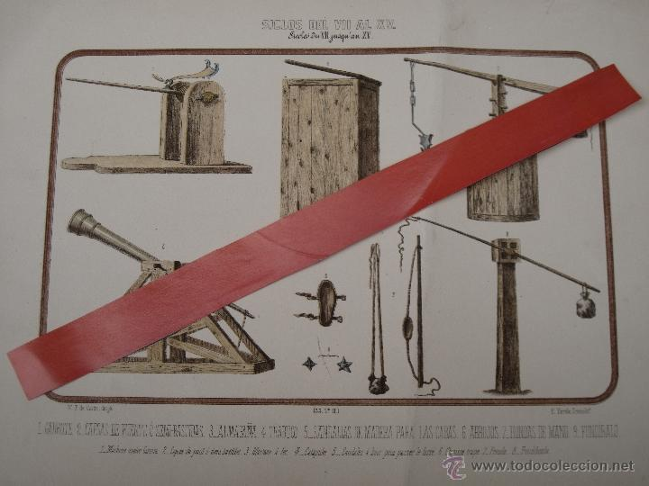 CROMOLITOGRAFIA ANTIGUA - ARMAS - SIGLOS DEL VII AL XV. (Arte - Cromolitografía)