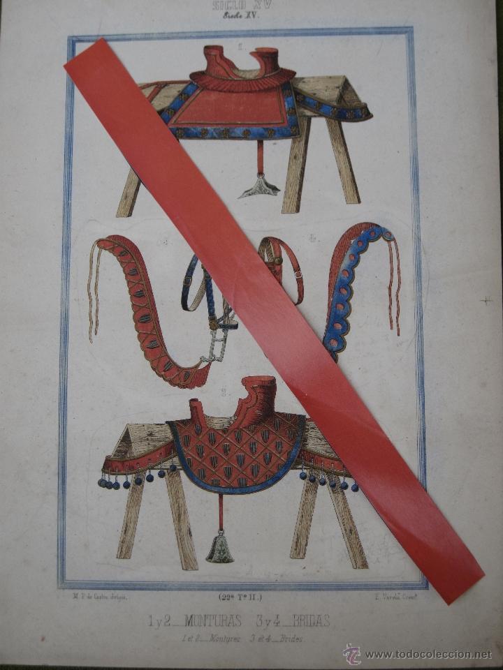 CROMOLITOGRAFIA ANTIGUA - MONTURAS Y BRIDAS DEL SIGLO XV. (Arte - Cromolitografía)