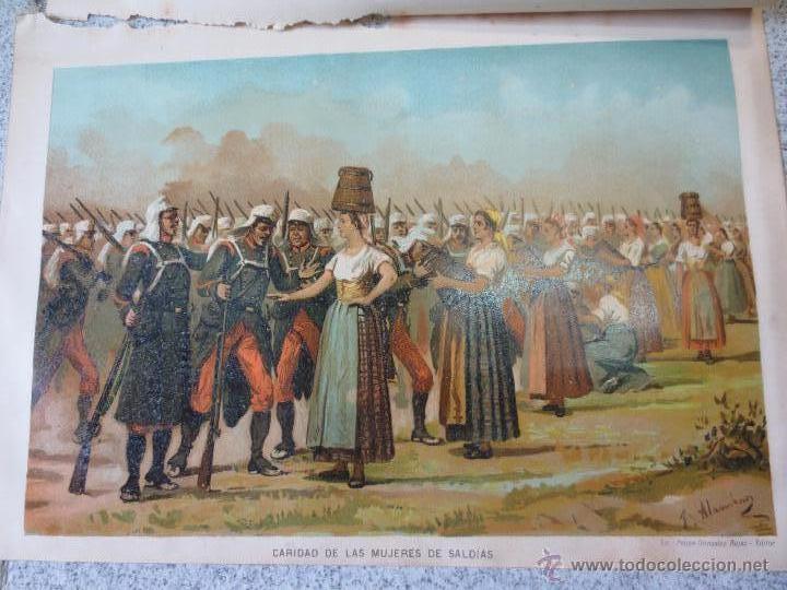 CROMOLITOGRAFÍA CARLISTA HISTORIA CONTEMPORÁNEA DE LA GUERRA CIVIL ANTONIO DE PIRALA SIGLO XIX (Arte - Cromolitografía)