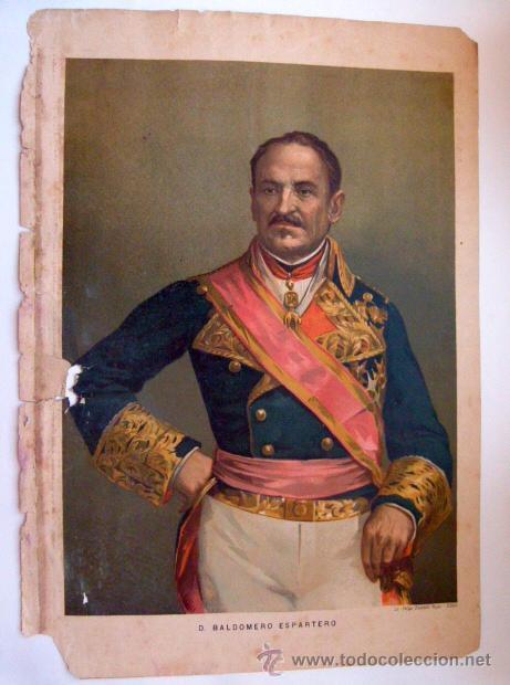 CROMOLITOGRAFÍA BALDOMERO ESPARTERO SIGLO XIX (Arte - Cromolitografía)