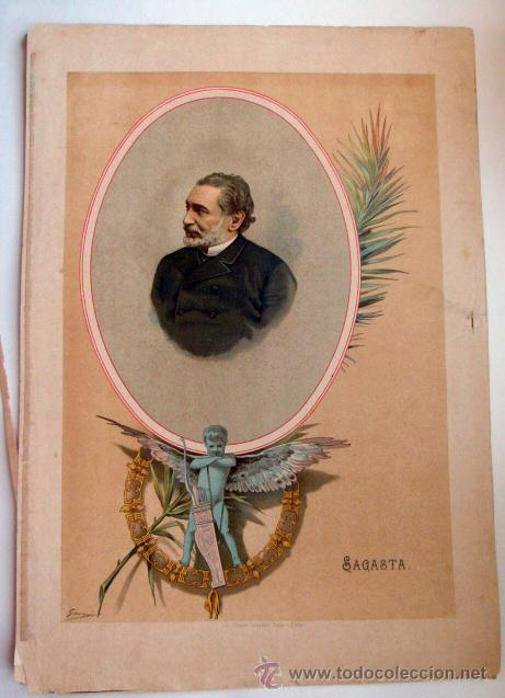 CROMOLITOGRAFÍA SAGASTA SIGLO XIX (Arte - Cromolitografía)