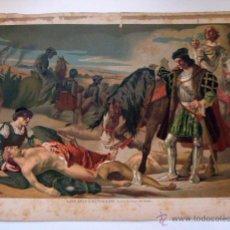 Arte: CROMOLITOGRAFÍA LOS DOS CAUDILLOS SIGLO XIX. Lote 191545610