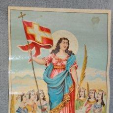 Arte: CROMOLITOGRAFIA DE RAFAEL ALCALA , DE MÁLAGA , SANTA URSULA DE 1930 APROXIMADAMENTE . Lote 50488529