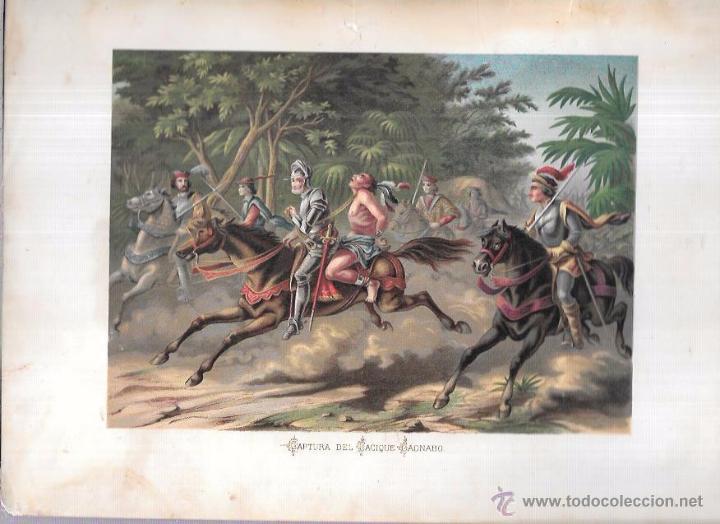 CROMOLITOGRAFÍA.CAPTURA DEL CACIQUE CAONABO. 30,1 X 21,3. (Arte - Cromolitografía)