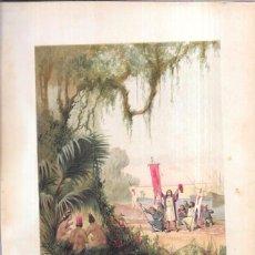 Arte: CROMOLITOGRAFÍA. DESEMBARCO DE CRISTOBAL COLÓN EN S. SALVADOR. 30,1 X 21,3.. Lote 56556855