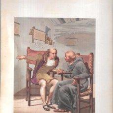 Arte: CROMOLITOGRAFÍA. ENTREVISTA DE COLÓN Y EL P. MARCHENA Á LA LLEGADA DEL PRIMER VIAJE. 30,1 X 21,3.. Lote 53506607