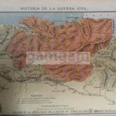 Arte: MAPA TERRITORIO CARLISTA EN EL PAIS VASCO Y POSICIONES LIBERALES EN 1836 (CROMOLITOGRAFIA DE 1889) . Lote 53633499