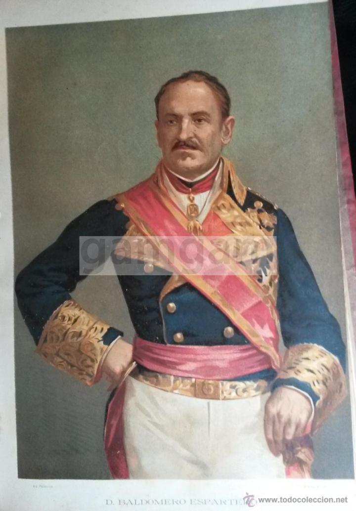 D. BALDOMERO ESPARTERO ,GENERAL LIBERAL DE LA PRIMERA GUERRA CARLISTA (CROMOLITOGRAFIA DEL AÑO 1889) (Arte - Cromolitografía)