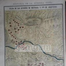 Arte: PLANO DE LAS ACCIONES DE MENDAZA Y ZUÑIGA (NAVARRA) 1ª GUERRA CARLISTA (LITOGRAFIA DEL AÑO 1889). Lote 53633897