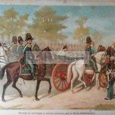 Arte: REVISTA MILITAR DE LA REINA MARIA CRISTINA , 1ª GUERRA CARLISTA (CROMOLITOGRAFIA DEL AÑO 1889). Lote 53634016