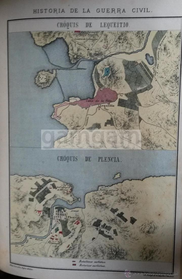 PLANOS DE LEKEITIO Y PLENCIA PLENTZIA DURANTE LA 1ª GUERRA CARLISTA (LITOGRAFIA DEL AÑO 1889) (Arte - Cromolitografía)