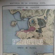 Arte: PLANOS DE LEKEITIO Y PLENCIA PLENTZIA DURANTE LA 1ª GUERRA CARLISTA (LITOGRAFIA DEL AÑO 1889). Lote 53634127