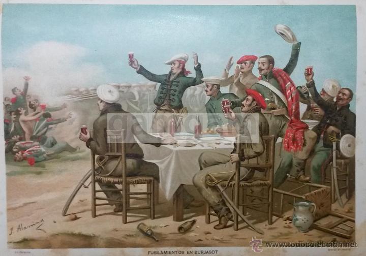 FUSILAMINETOS EN BURJASOT ( VALENCIA ) 1ª GUERRA CARLISTA (CROMOLITOGRAFIA DEL AÑO 1890) (Arte - Cromolitografía)