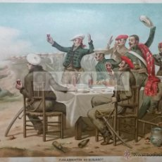 Arte: FUSILAMINETOS EN BURJASOT ( VALENCIA ) 1ª GUERRA CARLISTA (CROMOLITOGRAFIA DEL AÑO 1890). Lote 53635693