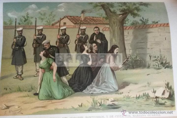 FUSILAMIENTO DE LA ESPOSA DEL CORONEL FONTIVEROS 1ª GUERRA CARLISTA (CROMOLITOGRAFIA DEL AÑO 1890) (Arte - Cromolitografía)