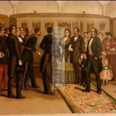 Arte: ISABEL II EN DONOSTIA SAN SEBASTIAN EN 1868, ANTES DE IR AL EXILIO (CROMOLITOGRAFIA DEL AÑO 1892). Lote 54211277