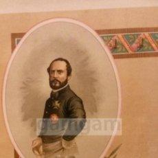 Arte: GENERAL PRIM ,CONSPIRADOR CONTRA ISABEL II,GENERAL DE LA GUERRA CARLISTA (CROMOLITOGRAFIA AÑO1892). Lote 54211300