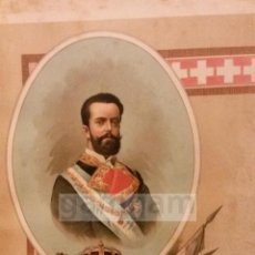 Arte: AMADEO I ,REY DE ESPAÑA DURANTE LA GUERRA CARLISTA (CROMOLITOGRAFIA AÑO1892). Lote 54211311