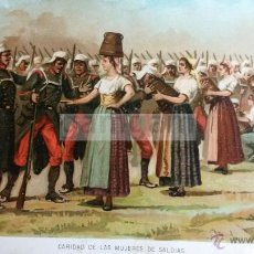 Arte: CARIDAD DE LAS MUJERES DE SALDIAS NAVARRA , CARLISMO , GUERRA CARLISTA (CROMOLITOGRAFIA AÑO1892). Lote 54211347