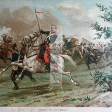 Arte: ALFONSO XII EN EL DESASTRE DE ERAUL NAVARRA , CARLISMO , GUERRA CARLISTA (CROMOLITOGRAFIA AÑO1892). Lote 54211369