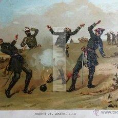 Arte: MUERTE DEL GENERAL OLLO ( IBERO NAVARRA ) , CARLISMO , GUERRA CARLISTA (CROMOLITOGRAFIA AÑO1892). Lote 54211418