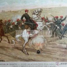 Arte: ACCION DE ELGUETA ELGETA GUIPUZCOA , CARLISMO , GUERRA CARLISTA (CROMOLITOGRAFIA AÑO1892). Lote 54211438