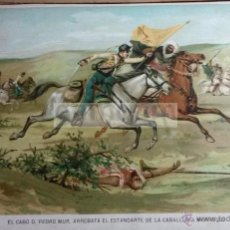 Arte: EL CABO D.PEDRO MUR ARREBATA EL ESTANDARTE MARROQUI , CARLISMO (CROMOLITOGRAFIA AÑO1890). Lote 54211466