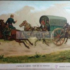 Arte: FUERA DE CAMINO, TODO SE HA PERDIDO , CARLISMO (CROMOLITOGRAFIA AÑO1890). Lote 54211470