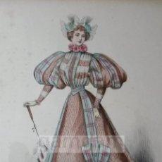 Arte: CROMOLITOGRAFIA DE LA MODA FEMENINA FRANCESA EN 1895 (IDEAL PARA ENMARCAR) - 35X25CM - REF.2 MADRID. Lote 54227207