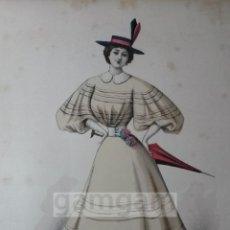 Arte: CROMOLITOGRAFIA DE LA MODA FEMENINA FRANCESA EN 1895 (IDEAL PARA ENMARCAR) - 35X25CM - REF.3 MADRID. Lote 54227211