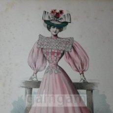 Arte: CROMOLITOGRAFIA DE LA MODA FEMENINA FRANCESA EN 1895 (IDEAL PARA ENMARCAR) - 35X25CM - REF.5 MADRID. Lote 54227241