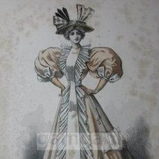 Arte: CROMOLITOGRAFIA DE LA MODA FEMENINA FRANCESA EN 1895 (IDEAL PARA ENMARCAR) - 35X25CM - REF.7 MADRID. Lote 54227253