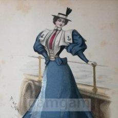 Arte: CROMOLITOGRAFIA DE LA MODA FEMENINA FRANCESA EN 1895 (IDEAL PARA ENMARCAR) - 35X25CM - REF.8 MADRID. Lote 54227262