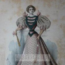 Arte: CROMOLITOGRAFIA DE LA MODA FEMENINA FRANCESA EN 1895 (IDEAL PARA ENMARCAR) - 35X25CM - REF.10 MADRID. Lote 54227284