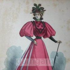 Arte: CROMOLITOGRAFIA DE LA MODA FEMENINA FRANCESA EN 1895 (IDEAL PARA ENMARCAR) - 35X25CM - REF.13 MADRID. Lote 54227308