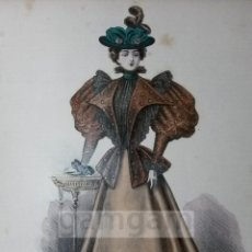 Arte: CROMOLITOGRAFIA DE LA MODA FEMENINA FRANCESA EN 1895 (IDEAL PARA ENMARCAR) - 35X25CM - REF.14 MADRID. Lote 54227326