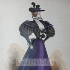 Arte: CROMOLITOGRAFIA DE LA MODA FEMENINA FRANCESA EN 1895 (IDEAL PARA ENMARCAR) - 35X25CM - REF.15 MADRID. Lote 54227336