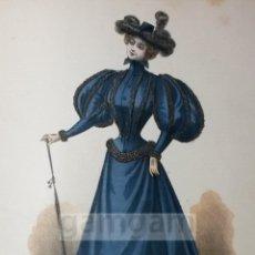 Arte: CROMOLITOGRAFIA DE LA MODA FEMENINA FRANCESA EN 1895 (IDEAL PARA ENMARCAR) - 35X25CM - REF.16 MADRID. Lote 54227345