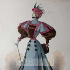 Arte: CROMOLITOGRAFIA DE LA MODA FEMENINA FRANCESA EN 1895 (IDEAL PARA ENMARCAR) - 35X25CM - REF.20 MADRID. Lote 54227405