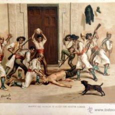 Arte: DEFENSA DE LA BARRICADA DE LA CALLE DE SEVILLA , CARLISMO (CROMOLITOGRAFIA DEL AÑO1892). Lote 54782958