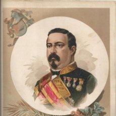 Arte: CROMOLITOGRAFÍA (C. 1890) - RETRATO DEL CONDE DE VALMASEDA - CUBA - 32X23. Lote 55052759