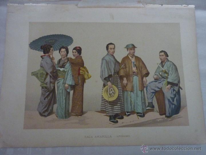 CROMOLITOGRAFÍA. RAZA AMARILLA. JAPONESES. DE LA GEOGRAFÍA UNIVERSAL DE MALTE-BRUN 1876. (Arte - Cromolitografía)