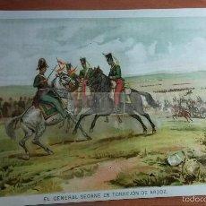 Arte: GENERAL SEOANE EN TORREJON DE ARDOZ 1843( ALCALA DEL RIO )1ª G. CARLISTA, CROMOLITOGRAFIA AÑO 1891. Lote 57498588