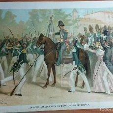Arte: GENERAL ESPARTERO EN MADRID EN 1843, 1ª GUERRA CARLISTA (CROMOLITOGRAFIA DEL AÑO 1891). Lote 57498655