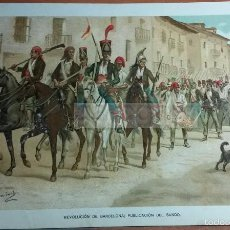 Arte: REVOLUCION DE BARCELONA , DESPUES DE LA 1ª GUERRA CARLISTA (CROMOLITOGRAFIA DEL AÑO 1891). Lote 57498695