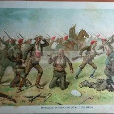 Arte: ENTRADA DE RAMON CABRERA EN FRANCIA EN 1840, 1ª GUERRA CARLISTA (CROMOLITOGRAFIA DEL AÑO 1891). Lote 57498708