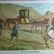 Arte: CONDUCCION DEL GENERAL RAMON CABRERA , 1ª GUERRA CARLISTA (CROMOLITOGRAFIA DEL AÑO 1891). Lote 57498720